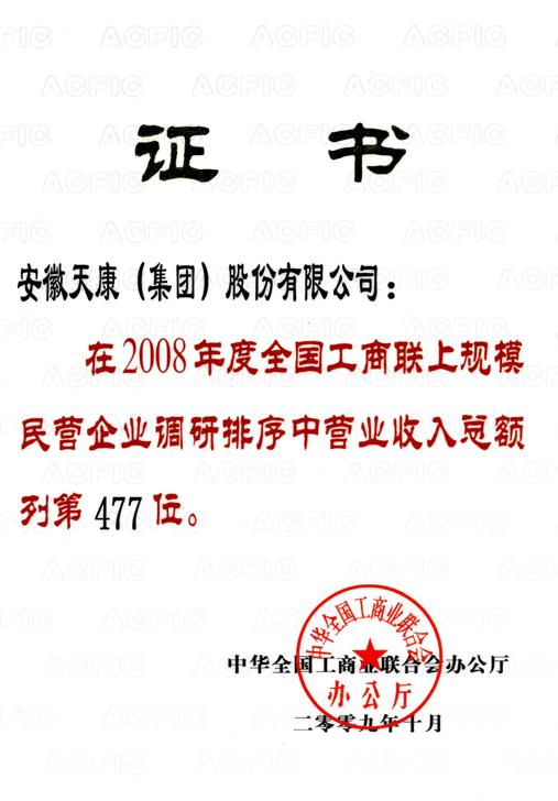 全国工商联民企第477位(集团公司08年度)